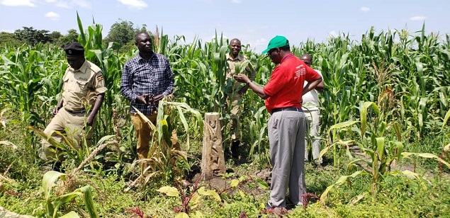 KWMZ team led by Mr. Louis Mugisha and EPF inspecting a degraded section of  Mpologoma Swamp in Kibuku District.